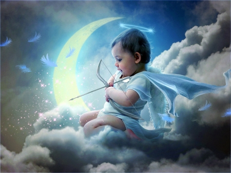 Cupid - cloud, luna, luminos, angel, creative, arrow, cute, boy, fantasy, moon, cupid, mr ripley, copil, child, archer, blue