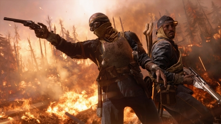 battlefield 1 - soldier, fire, battlefield, gun