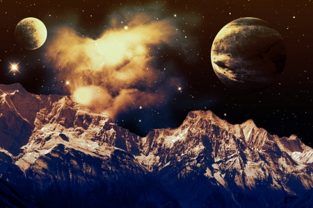 Reach for the Stars - Planets, Nebula, Mountains, Universe, Space, Stardust, Photoshop, Stars