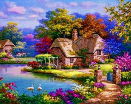 Cottage - cottage, painting, flower, river, swan, garde