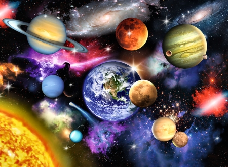 Solar System F - art, painting, wide screen, beautiful, solar system, illustration, artwork