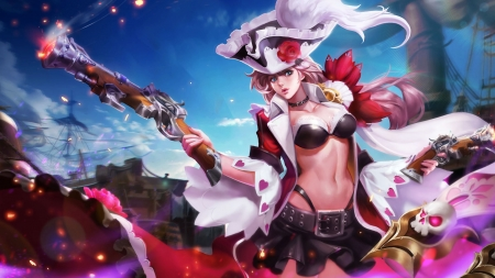 Fantasy girl - red, luminos, game, pirate, hat, fantasy, gun, girl, feather, yuji, blue, king of glory