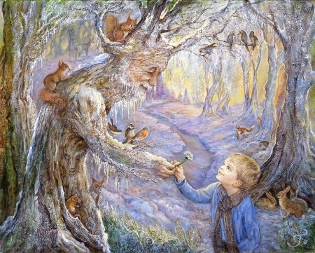 First sign of spring - forest, veverita, josephine wall art, squirrel, spring, winter, tree, boy, painting, flower, copil, child, pictura, daisy