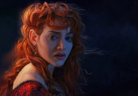 Rose Dewitt Bukater - redhead, art, rose dewitt bukater, actress, dark, Kate Winslet, face, pictura, wind, mandy jurgens, girl, red, titanic, portrait, painting