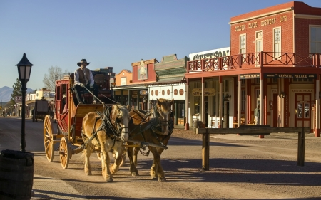 Tombstone Arizona - arizona, town, stage coach, wagon wheels, carriage, horses, tombstone, old west, cowboys