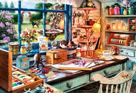Grandma's Craft Shed - architecture, art, lamp, craft shed, ruler, ribbon, beautiful, illustration, artwork, painting, wide screen, scenery