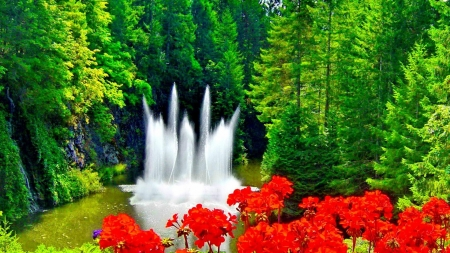 Fountain on Green Forest - forest, green, flowers, trees, nature, fountain, lake