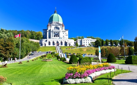 Cathedral in Canada - architecture, cathedral, Montreal, religious, love four seasons, ladder, attractions in dreams, photography, temples, Canada, churches, lawn