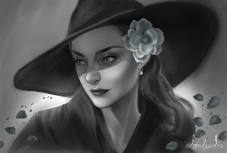 Beauty - luminos, rose, black, woman, hat, draw, expensive thief, tarivanima, fantasy, bw, flower, lady, white