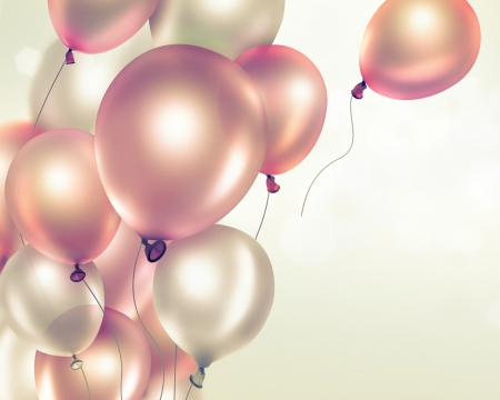 Balloons - balloon, party, soft, birthday, pink, card