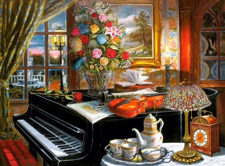 Musical Ensemble - fountain, violin, artwork, piano, windows, still life, painting, summer, flowers, garden, porcelain