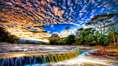 Colorful Waterfall - sky, waterfall, clouds, trees, nature