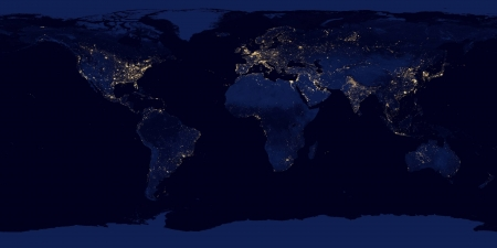 Earth at night - cool, planet, Earth at night, space, fun