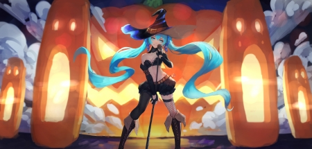 Hatsune Miku - vocaloid, hatsune miku, orange, halloween, manga, gods, singer, microphone, girl, anime, blue