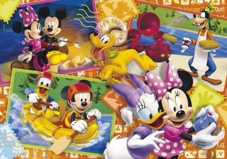 Disney collage - donald, minnie mouse, yellow, collage, mickey, daisy, disney