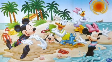 Mickey on the beach - movie, mickey mouse, beach, donald, animation, summer, minnie, disney, daisy