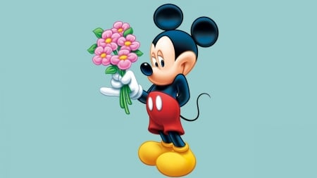 Romantic Mickey - romantic, valentine, mickey mouse, re, bouquet, flower, pink, disney, blue