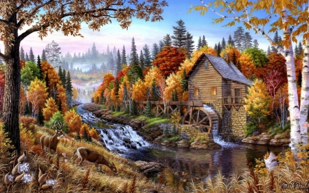 Water mill - art, autumn, painting, water mill, mark daehl, pictura