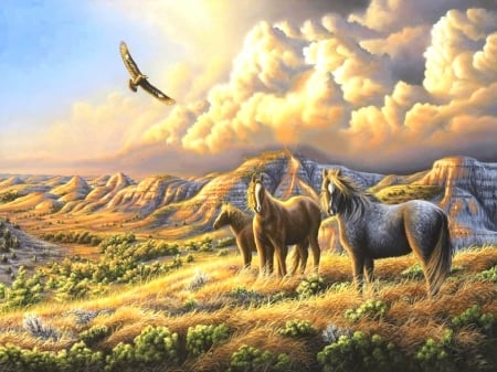 Under Wild Skies - love four seasons, attractions in dreams, sky, clouds, North Dakota, wild life, horses, paintings, summer, nature, fields, animals