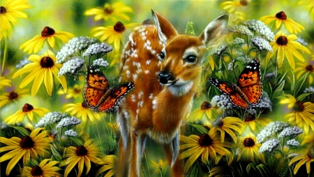 Deer in paradise - playing, pretty, art, beautiful, butterflies, deer, animal, fantasy, paradise, sunflowers, flowers, garden