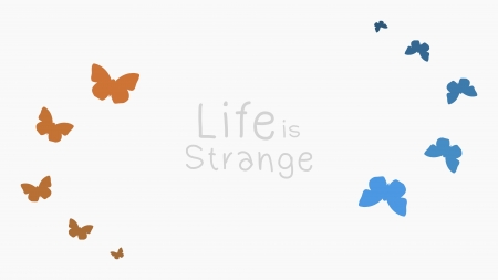 Life is Strange - Vector, Strange, Miniamalist, White, Life is Strange, video games, Chloe Price, Butterfly, is, Max Caufiled, Minimalism, Life, Blue