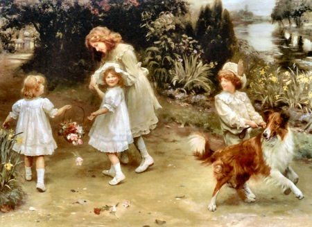 Love at First Sight - Dog - art, beautiful, little girls, pets, illustration, artwork, canine, animal, painting, wide screen, collie, dogs