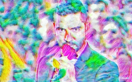 David Bisbal - art, David Bisbal, spain, pink, rose, yellow, colorful, blue, pictura, by cehenot, singer, hand, man, green, abstract, painting