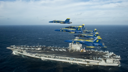 blue angels and aircraft carrier - aircraft, carrier, blue, angels