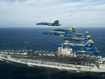 blue angels and aircraft carrier