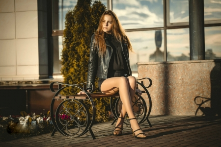 Model Posing on a Bench - high heels, model, bench, brunette, legs, outdoors