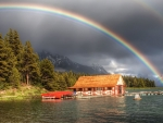 Rainbow Above the Lodge