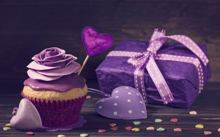 Happy Valentine's Day! - food, ribbon, box, bow, valentine, gift, sweet, dessert, card, cupcake, purple, heart, pink