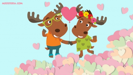 Moose Loving Couple - moose, lovely, hearts, cople, cute, lovers, couple in love, lovely moose, wallpaper, love, heart, cute animals