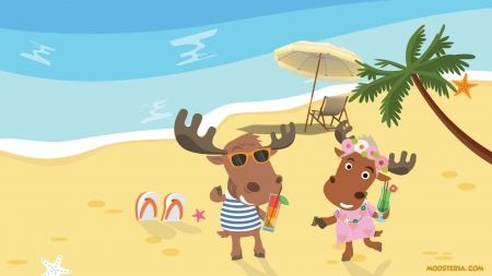 Moose at the Beach - moose, holidays, coctails, palm, summertime, animal, cute, beach, paradise, summer, cute animals, moosteria, funny, animals