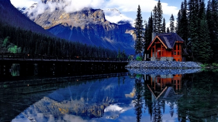 Cottage On The Lake - forest, house, cottage, trees, lake, mirrored, mountain, snow, nature, reflection