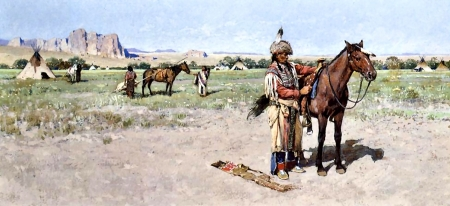 Saddling Up F - art, illustration, Native American, equine, landscape, wide screen, beautiful, horse, artwork, painting