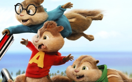 Alvin and the Chipmunks: The Road Chip (2015) - car, alvin and the chipmunks, animal, wind, the road trip, veverita, movie, cute, poster