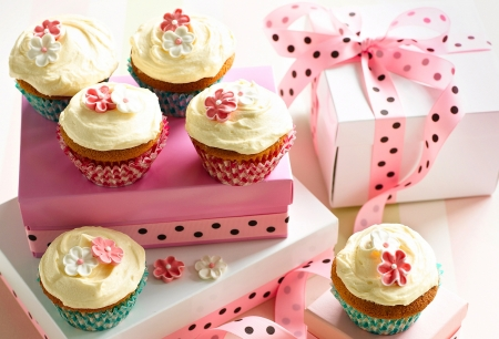 Cupcakes - food, ribbon, box, valentine, gift, sweet, dessert, cupcake, dot, flower, pink, blue