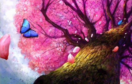 ✿⊱•╮Shadow of Peace╭•⊰✿ - pink, lovely still life, paintings, butterfly designs, flowers, spring, butterflies, love four seasons, draw and paint, petals, nature, tree