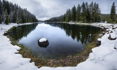Reflections of a Snowy Lake - Snow, Reflections, Trees, Winter, Nature, Clouds, Lakes, Sky