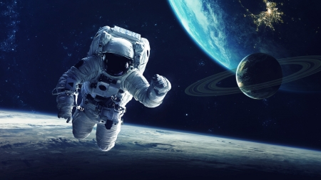 Floating in Space - astronaut, sky, man, Firefox Persona theme, moon, earth, planet, space