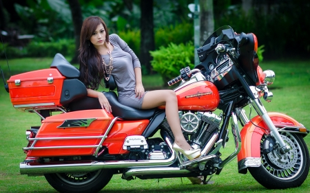 Asian Woman on a Harley Davidson - Harley Davidson, Asian, Bike, Woman