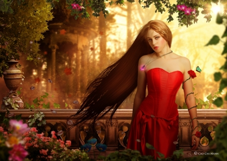 Secret Garden - garden, lovely, art, jessica truscott, long hair, flowers, nice, fantasy, pretty, woman, female, girl, digital, beautiful, red dress