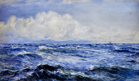 Bright Morning After a Breeze - art, waves, illustration, sea, high seascape, scenery, ocean, wide screen, beautiful, artwork, painting