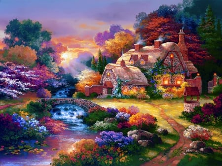 Garden wishing well - pretty, house, cottage, well, beautiful, countryside, bridge, painting, village, flowers, river, art, romantic, view, creek, paradise, garden