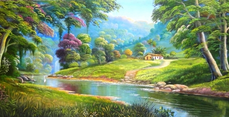 Natural Happiness - falls, paintings, attractions in dreams, rivers, panoramic view, Brazilian rivers, love four seasons, houses, paradise, beautiful life, trees, summer, nature