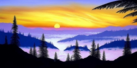 Shades of Dawn - dawn, love four seasons, panoramic view, attractions in dreams, trees, sky, fog, mist, paintings, paradise, summer, nature, sunrise