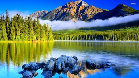 Picturesque lake and mountain - Trees, Rocks, Blue sky, Forest, Lake, Mountain