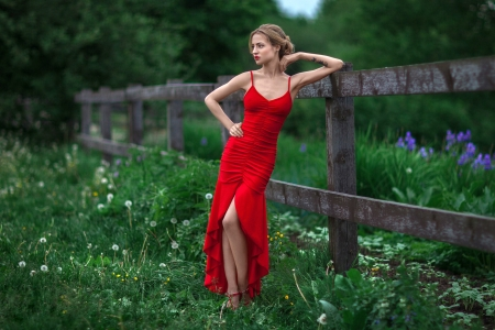 Model in Red - dress, blonde, model, red, outdoors