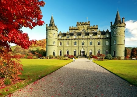 Inverary Castle at Autumn, Scotland - sky, ancient, famous, tree, building